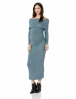 Motherhood Maternity Women's Maternity Long Sleeve Off The Shoulder Hacci Maxi Dress