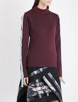 Martina Spetlova Leather-trim neoprene sweatshirt