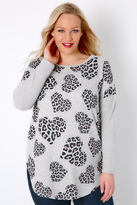 Yours Clothing BLUE VANILLA CURVE Grey & Pink Heart Print Soft Touch Jumper