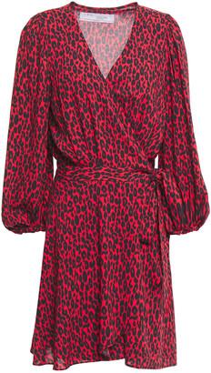 IRO Leopard-print Woven Mini Wrap Dress