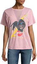Freeze Mesh V Neck Night Warrior Panther Graphic T-Shirt- Juniors