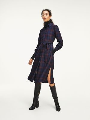 Tommy Hilfiger Checked Relaxed Fit Midi Shirt Dress