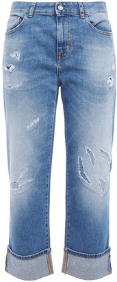 Just Cavalli Cropped Distressed Faded Boyfriend Jeans