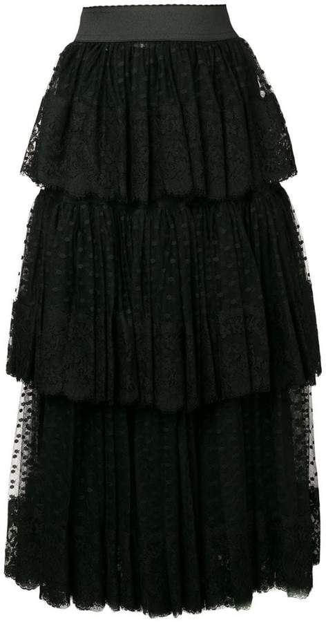 Dolce & Gabbana pleated layered tulle skirt