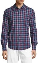 Toscano Men's Long Sleeve Plaid Linen Sportshirt