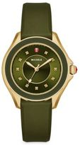 Michele Cape 18 Diamond, Goldtone Stainless Steel & Silicone Strap Watch/Green