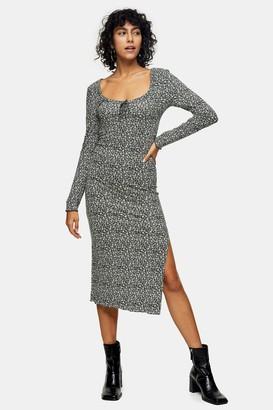Topshop Green Floral Print Long Sleeve Jersey Midi Dress