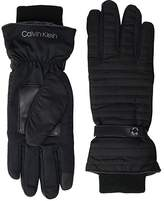 Calvin Klein Linear Quilted Touch Gloves (Black) Over-Mits Gloves