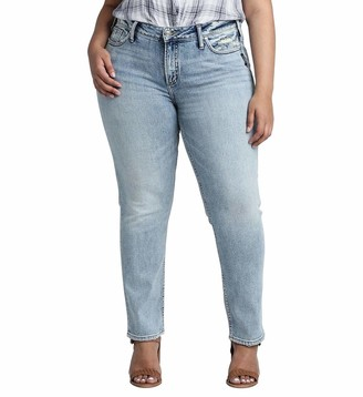 Silver Jeans Co. Women's Plus Size Elyse Curvy Mid Rise Slim Fit Jean