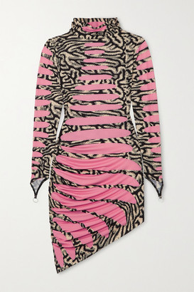 MAISIE WILEN Ruched Printed Stretch-jersey Turtleneck Mini Dress - Pink