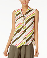 Nine West Striped Tie-Neck Top