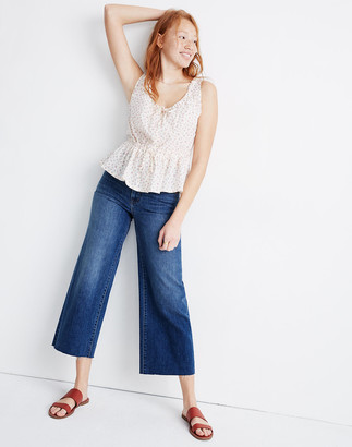 Madewell Petite Wide-Leg Crop Jeans in Marsing Wash: Raw-Hem Edition