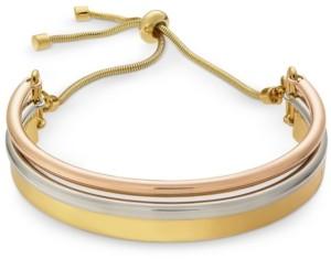 Alfani Tri-Tone Curved Bar Slider Bracelet, Created for Macy's