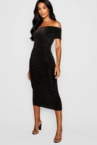 boohoo Tall Shimmer Off Shoulder Midi Dress