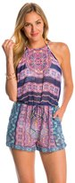 Jessica Simpson Swimwear Mojave High Neck Cover Up Romper 8145296