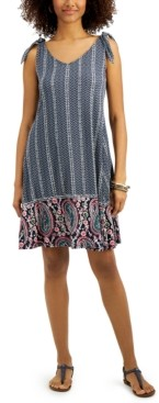 Style&Co. Style & Co Plus Size Printed Tie-Shoulder Dress, Created for Macy's