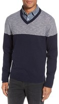 Nordstrom Colorblock V-Neck Cotton Sweater