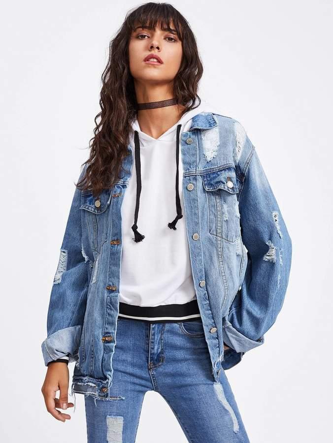 54180f9f8f Ripped Denim Jacket - ShopStyle