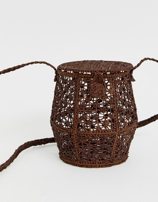 Kaanas raffia honey pot cross body bag in cocoa-Brown