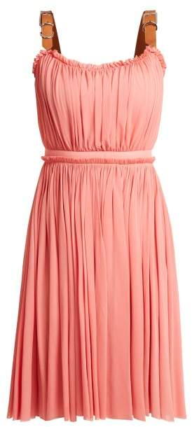 Alexander McQueen Leather Buckle Strap Jersey Dress - Womens - Pink