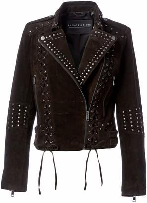 Bagatelle Women's Suede Western Biker Jacket with Lacing Details