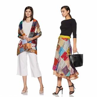 Wild Hazel Vintage Handmade Patch Work Women Rapron Skirt with Scarf Wrap Assorted Silk Blend Sari Multi-Color Drawstring Multicolored (SKT514)