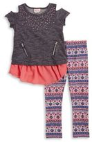 Little Lass Girl's Cold-Shoulder Layered Top and Leggings Set