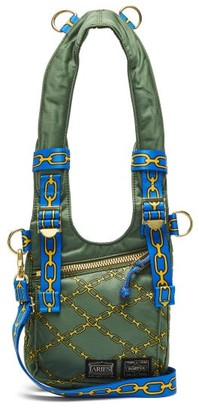 Aries X Porter Chain-print Harness-strap Bag - Womens - Khaki Multi