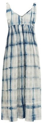 Story mfg. Daisy Tie-dye Organic Cotton Maxi Dress - Blue White