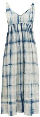 story. Mfg. - Daisy Tie-dye Organic Cotton Maxi Dress - Womens - Blue White