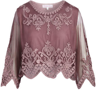 Pretty Angel Women's Blouses MAUVE(MV) - Mauve Sheer-Sleeve Embellished Scallop Silk-Blend Crop Top - Women