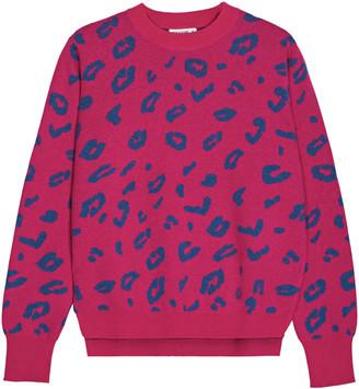 Iggy & Burt Leopard Print Jumper In Hot Pink