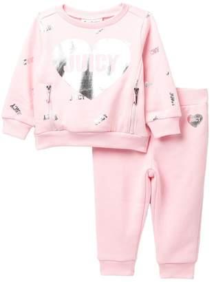 Juicy Couture Juicy Heart Fleece Top & Bottom Set (Baby Girls)