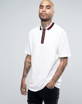 Asos Oversized Polo Shirt In Pique With Ring Pull Neck