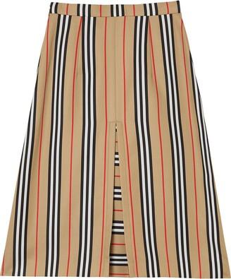 Burberry Box Pleat Detail Icon Stripe A-line Skirt