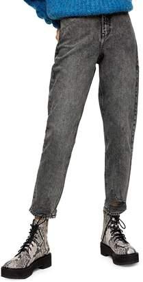 Topshop Grey Rip Mom Jeans 34-Inch Leg