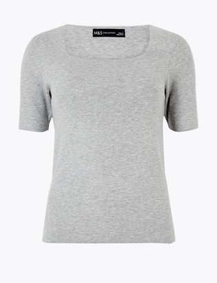 Marks and Spencer Knitted Square Neck Short Sleeve Top