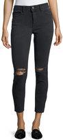 DL1961 Premium Denim High-Rise Skinny Distressed Ankle Jeans, Black