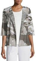 Misook Floral Focus 3/4-Sleeve Jacket, Ivory/Latte/Black, Petite