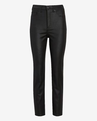 Express Super High Waisted Black Coated Slim Jeans