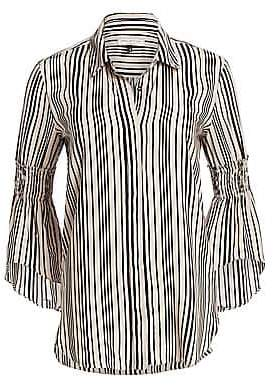 Halston Women's Striped Smocked Bell Sleeve Blouse