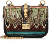 Valentino Embellished Leather Shoulder Bag with Feathers