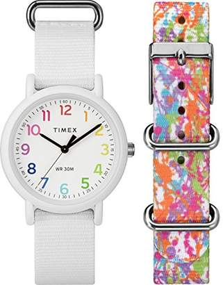 Timex Weekender Colour Rush White Dial with a White Nylon Strap Watch TWG018200