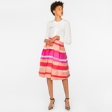 Paul Smith Women's Coral And Pink Sheer-Stripe Skirt