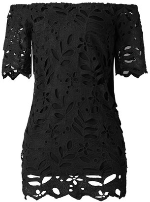 Goodnight Macaroon 'Natalia' Lace Off the Shoulder Mini Dress (4 Colors)