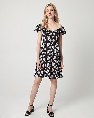 Le Château Floral Print Viscose Off-the-Shoulder Dress