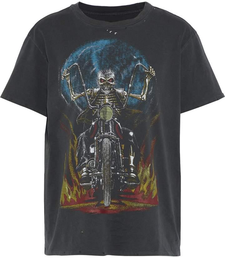 R 13 ヴィンテージ加工 プリント コットンジャージー Tシャツ