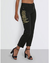 Missguided Ladies Black Cropped Casual Baroque-Appliqué High-Rise Mom-Fit Jeans