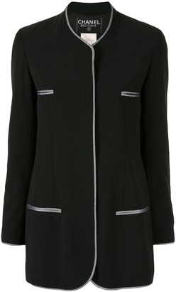 Chanel Pre Owned 1996 Striped Piping Collarless Jacket