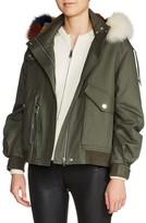 Maje Women's Bobby Multicolored Genuine Fur Trim Jacket